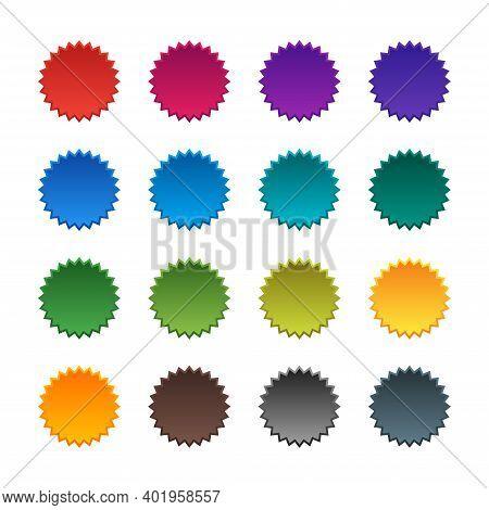Vector Set Of Starburst, Sunburst Icons. Multicolored Icons On A White Background. Simple Flat Vinta