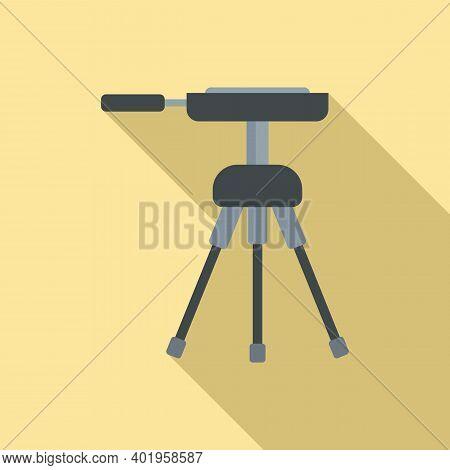 Video Camera Tripod Icon. Flat Illustration Of Video Camera Tripod Vector Icon For Web Design