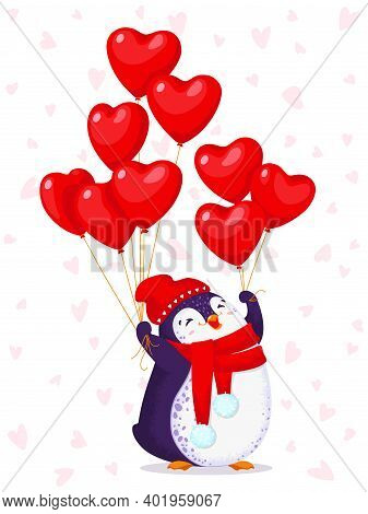 Greeting Card For Valentine Day With A Cute Penguin In A Red Hat And Scarf. Cartoon Penguin With Bal