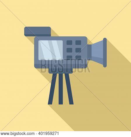 Cameraman Video Camera Icon. Flat Illustration Of Cameraman Video Camera Vector Icon For Web Design