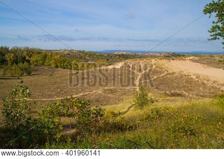 Overhead View Of Hiking Trail On A Massive Sand Dune In The Sleeping Bear Dunes National Lakeshore I
