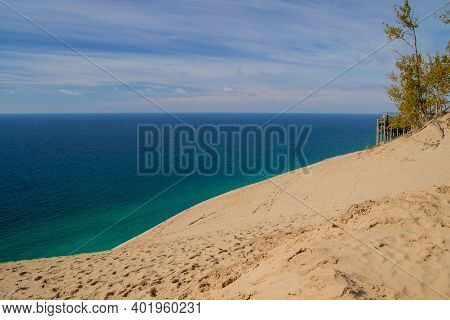 Massive Sand Dune And Overlook On The Coast Of Lake Michigan At Sleeping Bear Dunes National Lakesho