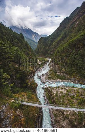 Bhote-khosi River Valley, Nepal. View From The Hillary Bridge