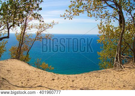 Scenic Lake Michigan Overlook From The Top Of Sleeping Bear Dunes National Lakeshore. Empire, Michig
