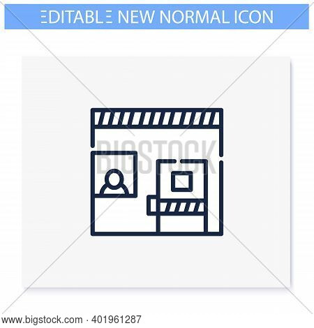 Isolation Room Line Icon. New Normal Concept. Social Distancing And Isolation. Virus Spread Preventi
