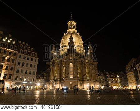 Night Panorama Of Baroque Evangelical Lutheran Church Of Our Lady Frauenkirche Neumarkt Square Dresd