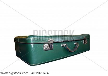 Old Vintage Suitcase Isolated On White Background. Green Classic Travel Bag With Key. Retro Travel B