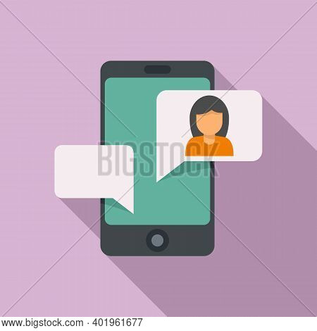 Agency Phone Chat Icon. Flat Illustration Of Agency Phone Chat Vector Icon For Web Design