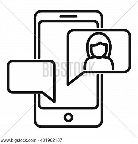 Agency Phone Chat Icon. Outline Agency Phone Chat Vector Icon For Web Design Isolated On White Backg