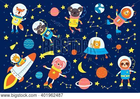 Set Of Cute Animals Astronauts, Rockets, Satellite, Ufo, Stars In Space, Vector Illustrations In Car