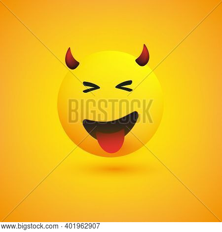 Smiling Evil Face With Stuck Out Tongue - Simple Happy Emoticon On Yellow Background - Vector Design