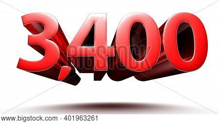 3d Illustration 3400 Red Isolated On A White Background.(with Clipping Path).
