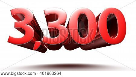 3d Illustration 3300 Red Isolated On A White Background.(with Clipping Path).