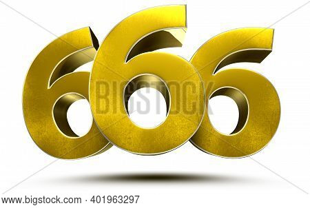 666 Numbers 3d Illustration On White Background With Clipping Path.