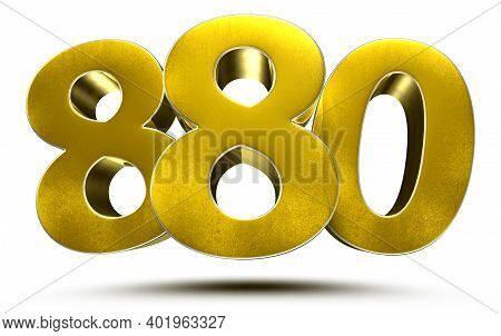 880 Numbers 3d Illustration On White Background With Clipping Path.