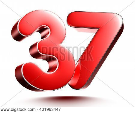 Red Numbers 37 Isolated On White Background Illustration 3D Rendering With Clipping Path.
