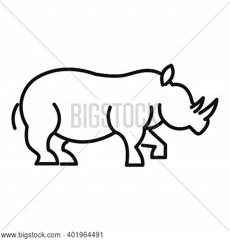Rhino Power Icon. Outline Rhino Power Vector Icon For Web Design Isolated On White Background