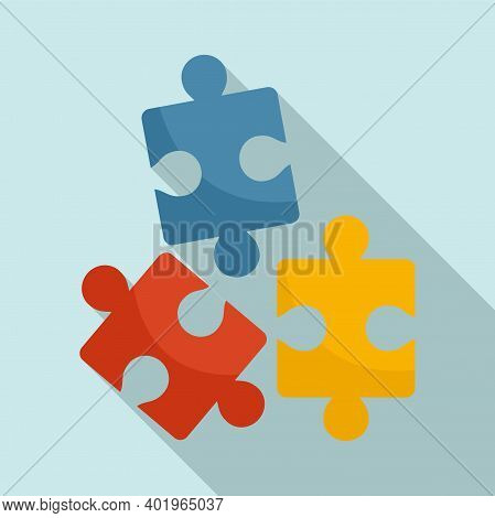 Sociology Puzzles Icon. Flat Illustration Of Sociology Puzzles Vector Icon For Web Design