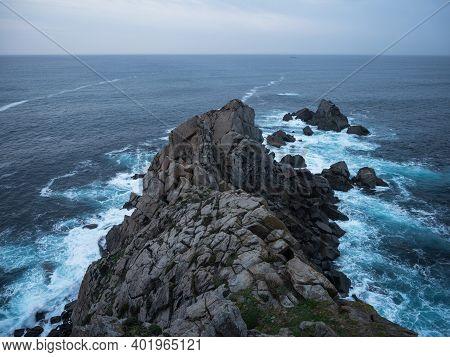 Rock Coast Cliffs At Punta De Estaca De Bares Northernmost Point Of Spain Bay Of Biscay Atlantic Can