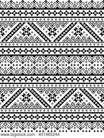 Ukrainian, Belarusian Retro Folk Art Vector Seamless Pattern, Monochrome Cross-stitch Ornament Inpir