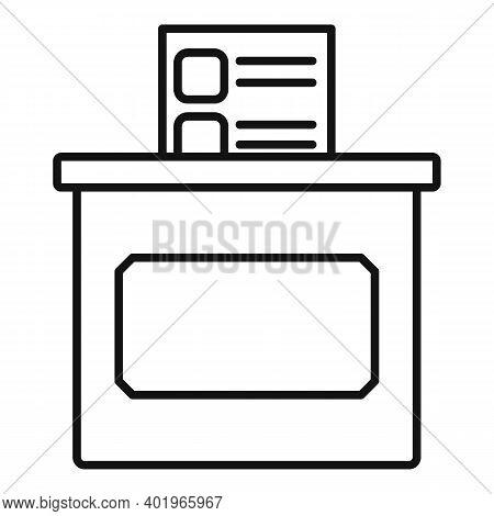 Sociology Ballot Box Icon. Outline Sociology Ballot Box Vector Icon For Web Design Isolated On White