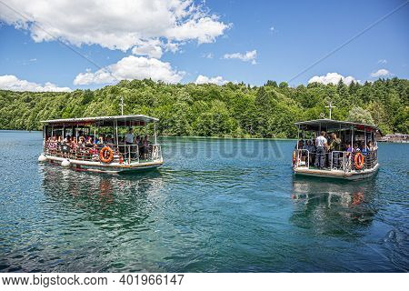 Plitvice Lakes, Croatia - June 26, 2017: Tourist Boats On The Lake At Plitvice Lakes, Croatia.