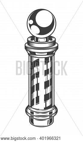 Logotype For Barbershop In Vintage Style. Barber Shop Logo Flat Vector Design Emblem With Barber Pol