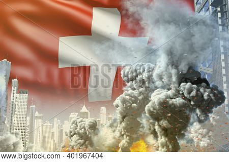 Large Smoke Column With Fire In The Modern City - Concept Of Industrial Explosion Or Terrorist Act O