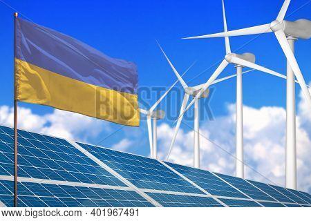 Ukraine Solar And Wind Energy, Renewable Energy Concept With Windmills - Renewable Energy Against Gl