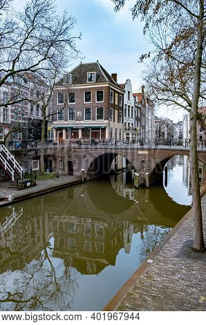 Utrecht, Netherlands Holland Europe January 2021 Almost Empty City During The Second Wave In The Net