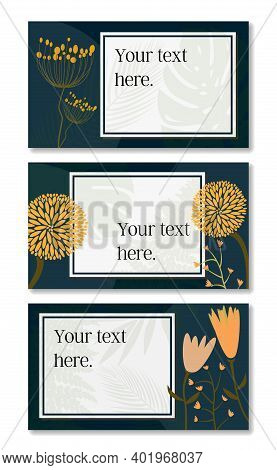 Multiple Page Floral And Botanical Layout Template With Copy Space For Text Vector Illustration