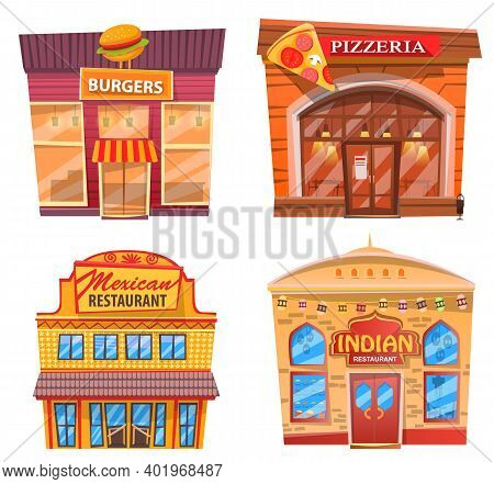 Pizzeria Pizza House Vector, Isolated Exteriors Of Eateries. Places To Eat Indian And Mexican Food A