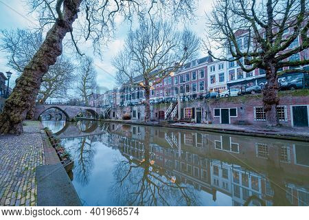 Traditional Houses On Traditional Houses On The Oudegracht Old Canal In The Center Of Utrecht, Nethe