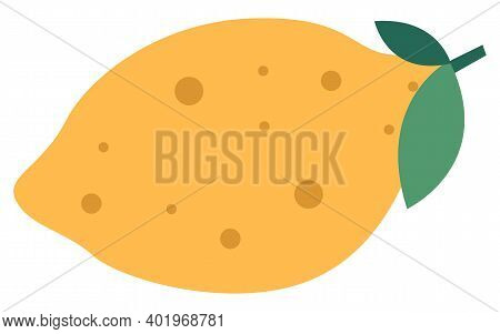 Yellow Lemon With A Green Leaf Flat Vector Illustration. Sour Citrus Isolated On A White Background.