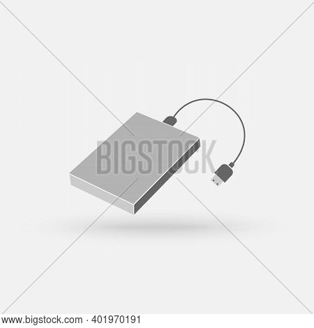 External Hard Disk Drive With Usb Cable Isolated On White Background. Portable External Hdd. Memory