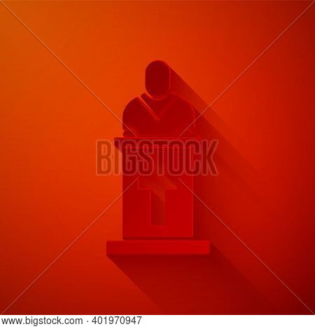 Paper Cut Church Pastor Preaching Icon Isolated On Red Background. Paper Art Style. Vector Illustrat