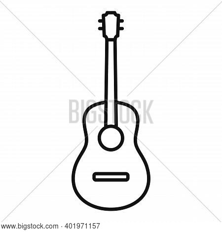Acoustic Guitar Icon. Outline Acoustic Guitar Vector Icon For Web Design Isolated On White Backgroun