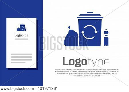Blue Recycle Bin With Recycle Symbol Icon Isolated On White Background. Trash Can Icon. Garbage Bin