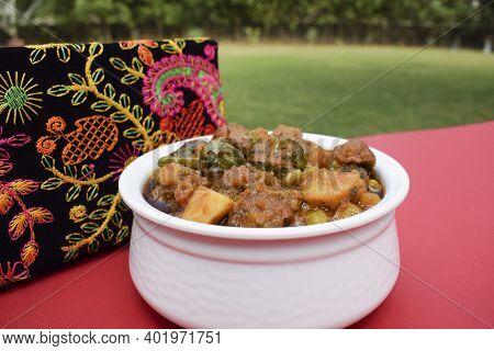 Undhiyu Or Oondhiyu Served In Outdoors Picnic Environment Open Air Resturant Garden, House Backyard