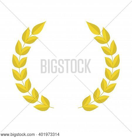 Gold Laurel Wreath Icon. Template Design For Sport Competition. Triumph, Awards And Trophies Symbol.