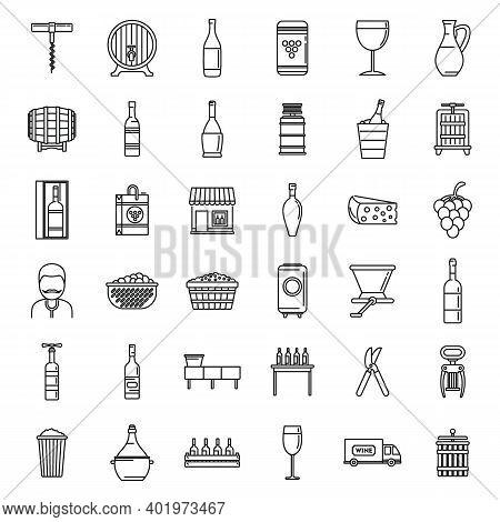 Modern Winemaker Icons Set. Outline Set Of Modern Winemaker Vector Icons For Web Design Isolated On