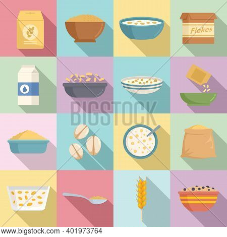 Cereal Flakes Icons Set. Flat Set Of Cereal Flakes Vector Icons For Web Design