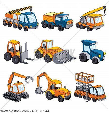 Lifting Machine Icons Set. Cartoon Set Of Lifting Machine Vector Icons For Web Design