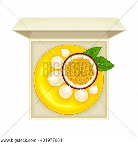 Fruit Pie Or Cheesecake As Sugary Dessert With Passion Fruit Rested In Cardboard Box Vector Illustra