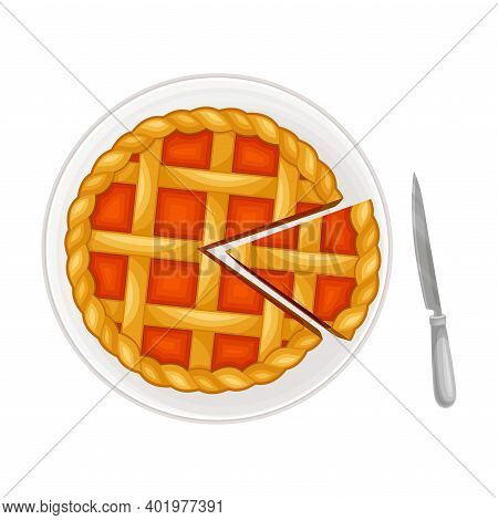 Fruit Pie With Shortcrust As Sugary Dessert On Plate Vector Illustration