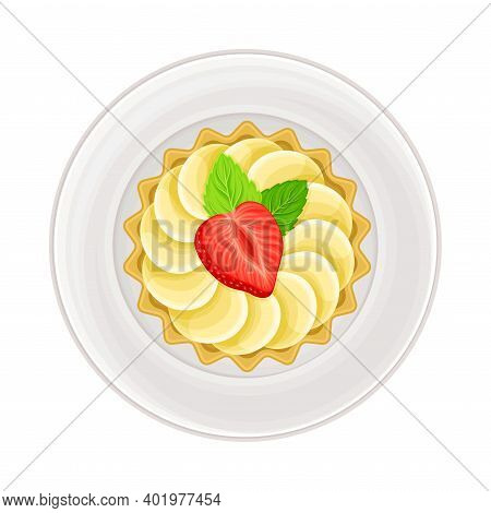 Tartlet With Whipped Cream And Shortcrust As Sugary Dessert Rested On Plate Vector Illustration
