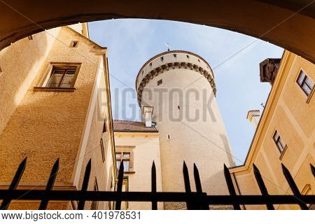 Historic Medieval Konopiste Castle Residence Of Habsburg Imperial Family, Courtyard Of Romantic Goth
