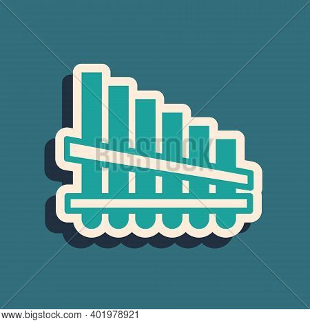 Green Pan Flute Icon Isolated On Green Background. Traditional Peruvian Musical Instrument. Zampona.