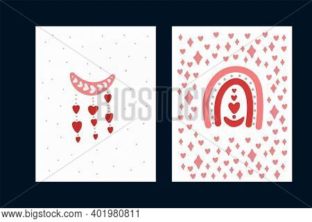 A Set Of Love Cards With A Rainbow. Cute Posters With Pink Elements And Hearts. Flowers, A Vase, A S