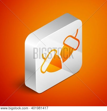 Isometric Acorn Icon Isolated On Orange Background. Silver Square Button. Vector